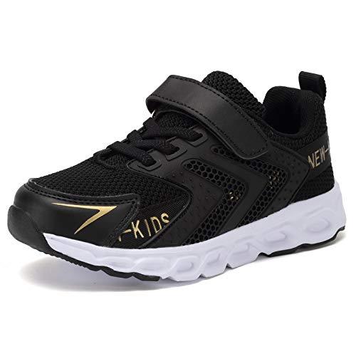 Kyopp Laufschuhe Kinder Turnschuhe für Mädchen Jungen Sportschuhe Kinderschuhe Outdoor Sneakers Klettverschluss Atmungsaktiv Unisex(Schwarz Gold 37EU)