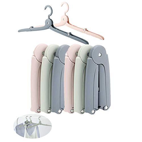 XMH Percha Plegable, 6 Piezas Percha para Viajes Mini Portable Plasticos Perchas de Ropa Perchas para Abrigos hoteles, Secado, Ropa Sucia, Pantalones Abrigos