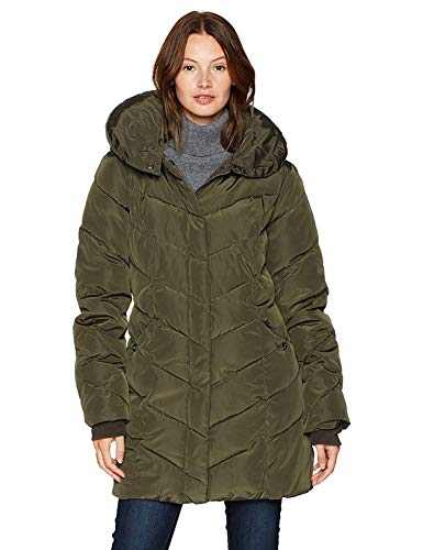 Steve Madden Women's Long Heavy Weight Puffer Jacket, Olive, Large