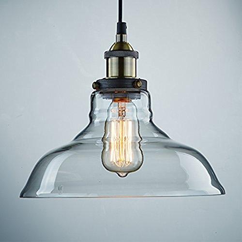 KLSD industrielle Weinlese Edison transparente Glasschatten-Decken-hängende Lampen-Befestigung für Küche-Dachboden-Schlafzimmer