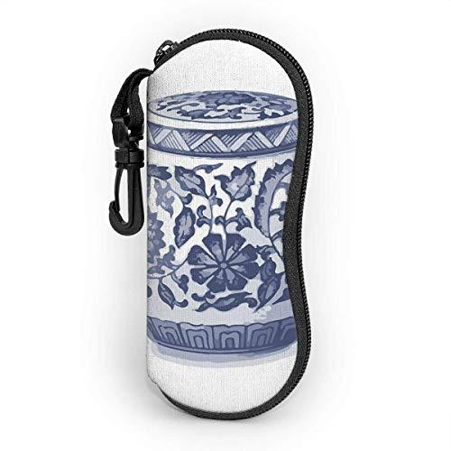 AOOEDM Estuche para gafas con mosquetón, azul índigo, blanco, Hamptons, tarro de jengibre, jarrón chinoiserie, arte, ultraligero, portátil, de neopreno con cremallera, gafas de sol, estuche blando