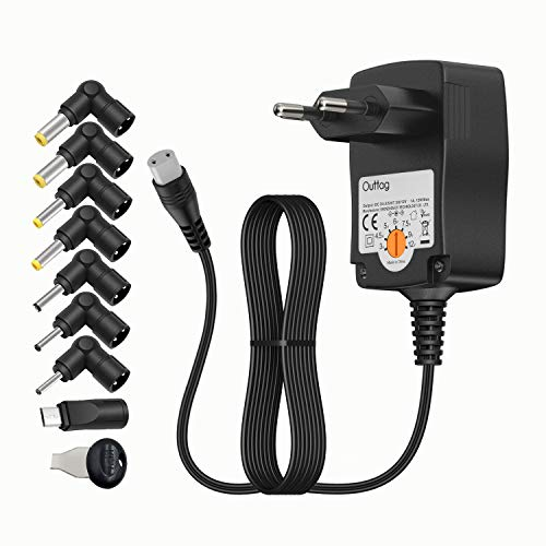 Outtag 12W Universal Netzteil 3V 4,5V 5V 6V 7,5V 9V 12V 1A 1000mA Wand Ladegerät für Haushaltsgeräte, LCD, WLAN Router, Bluetooth, Lautsprecher, Waagen, LED-Streifen, Smartphone with Micro-USB.