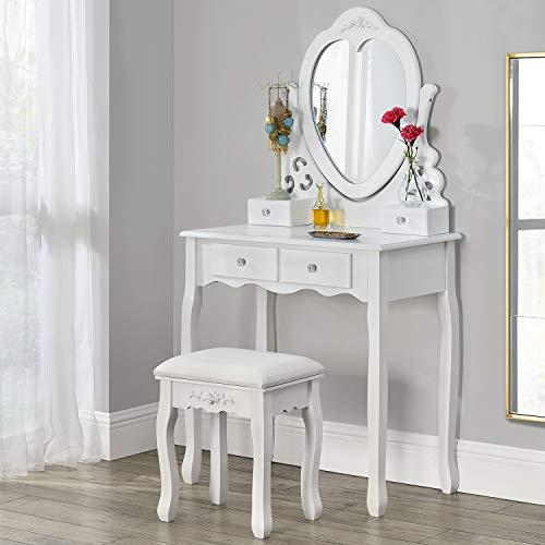 ArtLife Schminktisch Julia | Frisiertisch mit Spiegel, Hocker & 4 Schubladen | weiß | Landhausstil | MDF Holz | Mädchen Kinder Kosmetiktisch Kommode