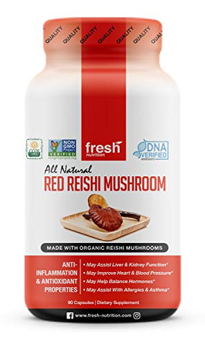 Organic Reishi Mushroom Capsules - Strongest DNA Verified Formula - Rich in Alpha Glucan - Red Reishi Mushrooms - Ganoderma Lucidum & Ganoderma Applanatim - Third Party Tested - 90 Capsules/Pills