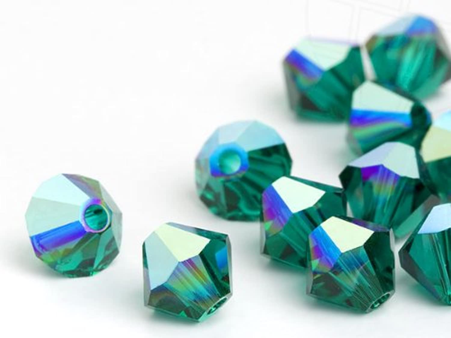 Glass Beads of Swarovski Elements Bicone 4mm (Emerald-AB), 1440 Pieces (10 Gross)