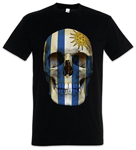 Urban Backwoods Classic Uruguay Skull Flag Camiseta De Hombre T-Shirt Negro Talla L