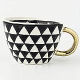 UKKD mug Creative Geometric Ceramic Mugs with Gold Handle Handmade Coffee Cups Irregular Shaped Tea Milk Mug Cup Unique Gifts Home Decor