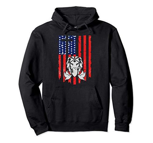 Lion And Lamb Cross Sheep Dove America Flag Felpa con Cappuccio