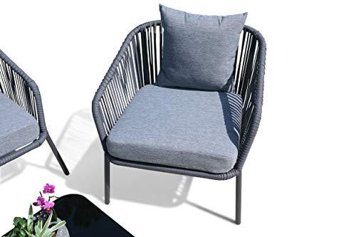 GRASEKAMP Qualität seit 1972 Lounge Sitzgruppe 4 teilig mit dicken Kissen Grau Coffee Set Arezzo Aluminium Loungeset Garten Sitzgruppe Loungemöbel - 2