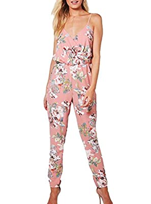 ANERT Women Summer Floral Printed Halter Jumpsuit Wrap V Neck
