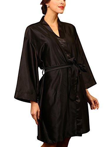 YAOMEI Unisexo Kimono Albornoz para Mujer Hombre, Satín Camisón Robe Albornoz Dama de Honor Ropa de Dormir Pijama, para SPA Hotel Sauna con Bolsillo Batas y Kimonos Talla Grande (2XL, Negro)