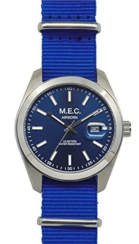 Reloj de hombre analógico de cuarzo con correa de la OTAN Militar Azul