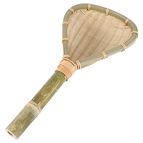 1 colador resistente al calor, cuchara de cocina, cuchara mezcladora, utensilio de bambú para cocina, restaurante, hogar, 15 * 18 * 33 cm