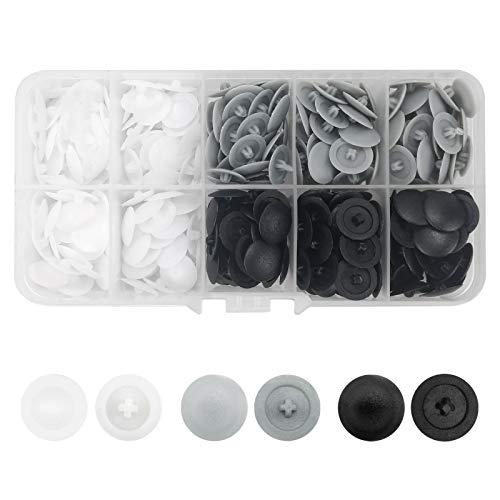 360 Stück Pozi-Schrauben-Abdeckkappen aus Kunststoff, passend für die meisten Kreuzschlitz-Schrauben (weiß, grau, schwarz)