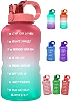 SANKUU Large1 Gallon/128oz Gallon Water Bottle Motivational with Time Marker & Straw, Leakproof Water Jug Ensure You...