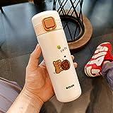 NYSJLONG Botella de Agua para niños Dibujos Animados creativos Botella Termo Linda Cubierta de Bala portátil Frasco de vacío de Acero Inoxidable Botella de Agua aislada para niños para