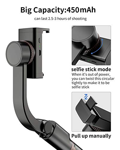 iWALK Gimbal Stabilizer for Smartphone,Auto Balance, Re   duce Shaking,1-Axis Handheld Pan-tilt Tripod with Built-in Bluetooth Remote for iPhone 11/11 Pro/X/Xr/6s,Samsung S10+/S10/S9/S8(Black)