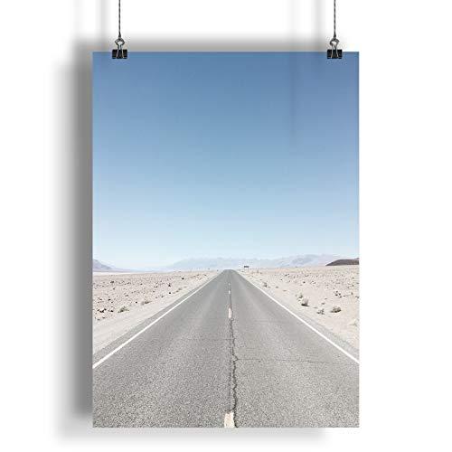 INNOGLEN Strada nel Deserto sotto Il Chiaro Cielo A0 A1 A2 A3 A4 Satin Foto Poster a2620h
