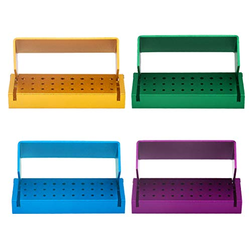 4 Pcs 30 Holes Dental Burs Holder Block Case Opening Box Dental Lab Aluminum Bur Case Organizer Random Color
