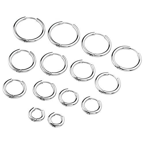 Zysta 7 Coppie Set 1.0mm Orecchini Unisex in Acciaio Inossidabile Piercing a Cerchio per Orecchio Trago Labbra Naso Cartilagine Helix,Interno Diametro 8/10/12/14/16/18/20mm,18GA - Argento