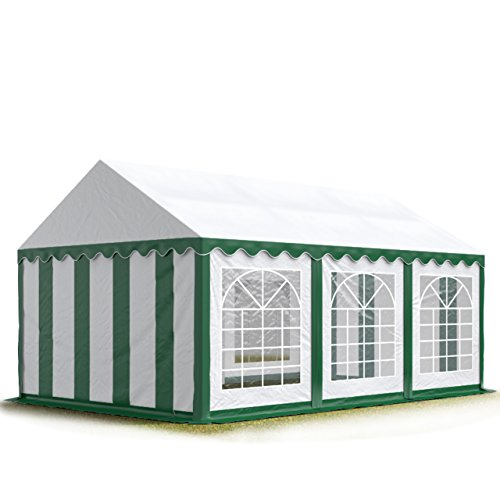 TOOLPORT 4x6 m Tente de réception/Barnum Vert-Blanc Toile de Haute qualité env. 500g/m² PVC