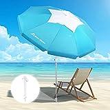 Brace Master 6.5ft Beach Umbrella with Sand Anchor - UV 50+ Hollowing Out Design with Tilt Aluminum Pole Beach Umbrella...