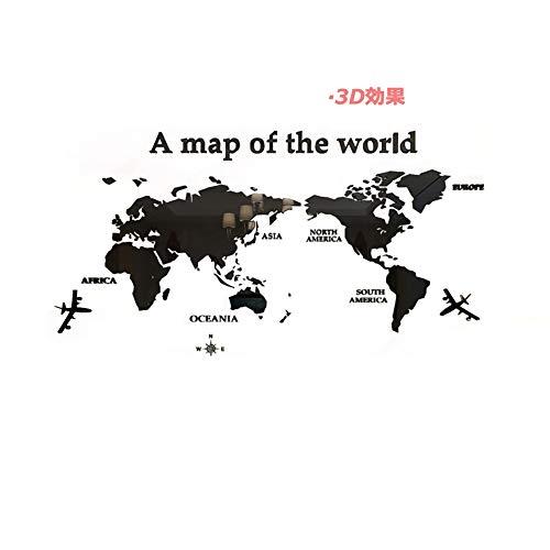 PFLife ウォールステッカー 世界地図 3d 壁紙 diy 飾り はがせる 壁装飾 おしゃれ シール 防水 壁 ホーム キッチン リビングルーム ベッドルーム 玄関 小 インテリア (ブラック, M)