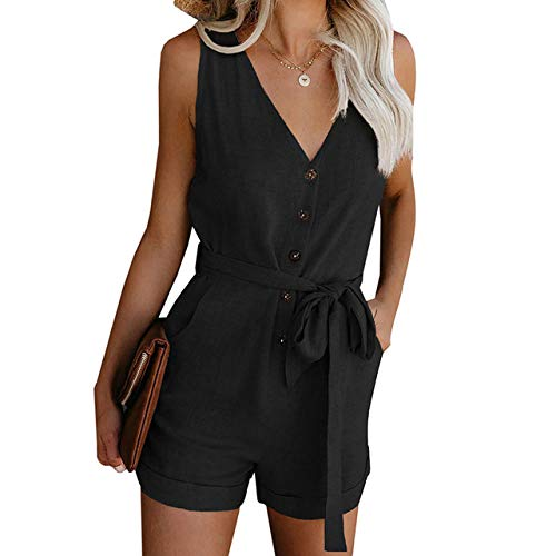 YFDYG Short Femme,Black V-Neck Jumpsuit Summer Ladies Indoor Lace Up Tassel Pants Casual Beach Drawstring Top &Amp; Solid Color Trousers Girl Running Gym Shorts,M