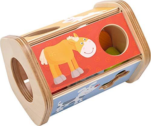 HABA 302973 - Sortierbox Steck-Snack | Sortierspiel mit lustigen Tiermotiven und Futter | Spielzeug aus Holz ab 18 Monaten