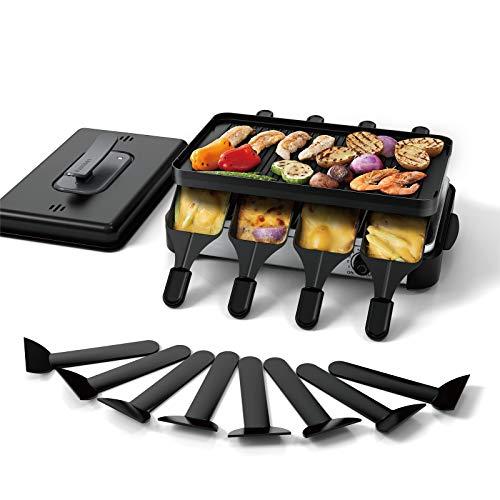 Muchen 1200W Raclette Grill mit Deckel zum elektrischen Grillen,Tischgrill Elektrisch für 8 Personen, mit doppelseitiger Antihaft-Grillplatte und 8 Pfännchen mit 8 Spatel
