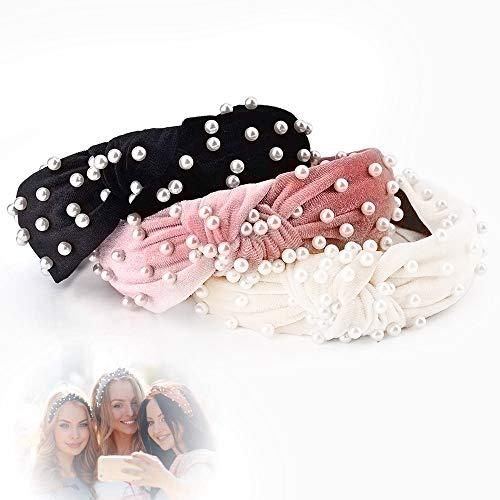 3 Stücke Haarreife Stirnbänder, Sinicyder Samt Breite Headband, Vintage Haarband mit Faux Perle elastische Haarbänder Mode Haarschmuck für Frauen und Mädchen