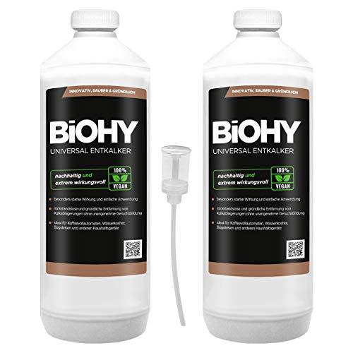 BIOHY universele vloeibare ontkalker 2 x 1 liter flessen + doseerder, concentraat voor ca. 20 ontkalkingsprocessen | voor alle koffieautomaten, espresso- en koffiezetapparaten, zoals Delonghi, Saeco, Philips.