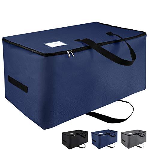 IHOMAGIC 100L Bolsas de Almacenaje Grande Plegable Almacenamiento Debajo de la Cama Bolsa de Viaje con Cremallera y Asas, Tela Oxford Impermeable, para Ropa Edredón Almohadas, Azul Oscuro