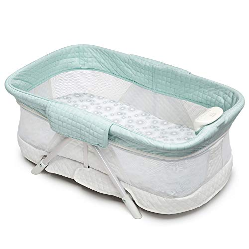 Simmons Kids Ultra-Compact Travel Bedside Bassinet -Folding Portable Crib, Aqua Geo