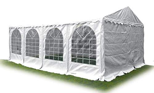 gazebo da giardino 8x4 AMBISPHERE Tenda per feste Classic Plus 4x8m gazebo di alta qualità 550g/m² telo PVC tendone da giardino resistente ai raggi UV & ignifugo bianco con 5 anni di garanzia