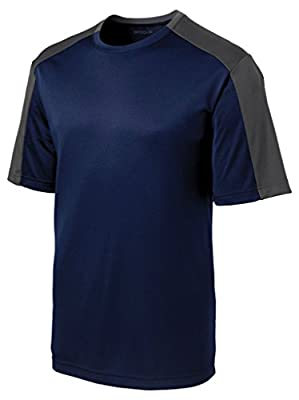 Dri-Equip Contrast Sleeve Moisture Wicking Athletic T-Shirt-4XL-Navy/Iron/Grey by