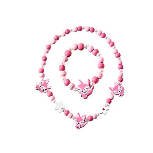 BESTOYARD Collar de dibujos animados de animales de colores forma Fox pulsera collar conjunto de joyas para niños niños niñas