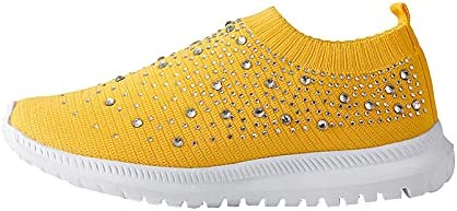 Womens Rhinestone Woven Fashion Sneakers Comfortable Walking Sho