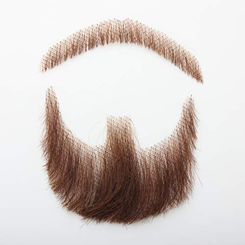 100% Human Hair Mustache Brown, Fake Face Beard and Mustache, False Facial Hair Costume Accessory for Adult(Brown)