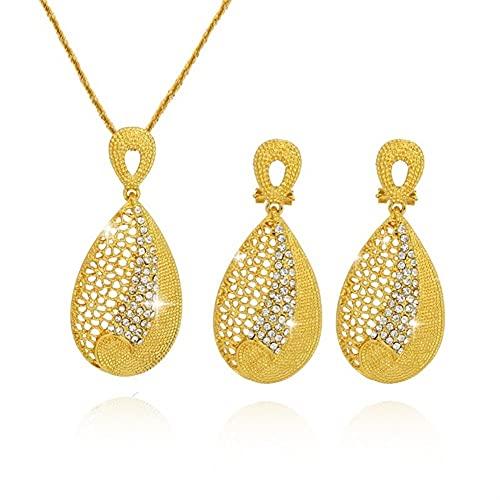 XiaoG Set de Collar para Mujeres Joyas de Boda de Oro bridales African Gargantilla Pendientes de Lujo Italiano (Color : Gold)
