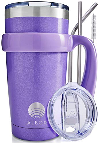 ALBOR Triple Insulated Stainless Steel Tumbler 20 oz Glitter Violet Coffee Travel Mug With Handle