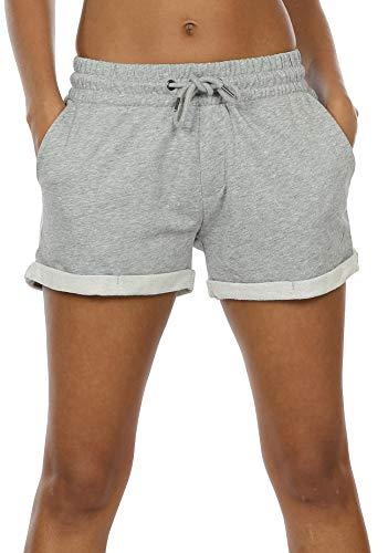 icyzone Damen Sweat Shorts Sport Kurze Hose Laufshorts Jogginghose mit Taschen (L, Athletic Grey)