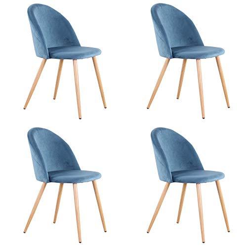 EGOONM Juego de 4 sillas de Comedor de Terciopelo ,Cojines de Terciopelo Suave Asiento,Sillas de Cocina para Comedor y Sala de Estar (Azul-4)