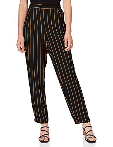 SELECTED FEMME Damen SLFALESSA MW Ankle Pant B Hose, Mehrfarbig (Black Stripes: Doe), W31(Herstellergröße: 40)