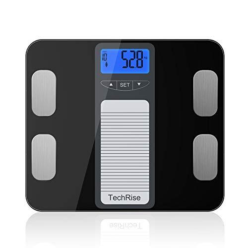Körperfettwaage TechRise Digitale Personenwaage ohne App für Gewicht, BMI, Körperfeuchtigkeit, Muskeln, Knochenmasse und Kalorienaufnahme