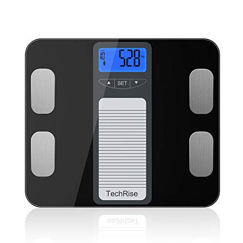 Körperfettwaage, TechRise Personenwaage Digital Körperfett, Intelligente Waage, Angabenzusammensetzung für Gewicht, BMI, Körperfeuchtigkeit, Muskeln, Knochenmasse und Kalorienaufnahme