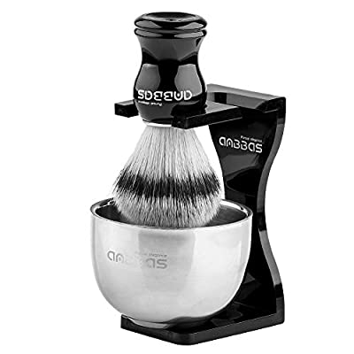 Anbbas 3IN1 Shaving Brush Set Synthetic Badger Hair with Stainless Steel Shaving Bowl,Black Acrylic Shaving Stand Holer for DE Razor Men Traditional Shave