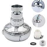 首振り 節水キッチンシャワー 360度回転 シャワー&ストレート 2モード切替 バブリーキッチンシャワー 自在水栓 ネジ式泡沫水栓など取り付け メッキ色