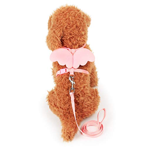THE MIMI'S Adjustable Kitten Harness and Leash - Angel Wings Cat Leash (Pink)