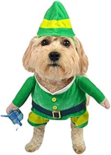 Santa's Helper Plush Green Holiday Elf Dog Pet Costume with Stuffed Arms and Present - Large